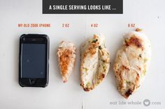 All about Healthy Portion Sizes - Portion Size Chicken Breast Comparison 3 Oz Of Meat, Healthy Snacks, Healthy Eating, Healthy Recipes, Keto Snacks, Healthy Cooking, Cooking Tips, Diet Recipes, Clean Eating