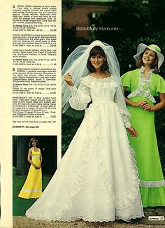 1976 J.Pennys wedding and bridesmaid dresses I think my cousin had one of these. Blue carnations too! Vintage Wedding Photos, Vintage Bridal, Vintage Outfits, Vintage Dresses, Wedding Attire, Wedding Gowns, Wedding Menu, 1970s Wedding Dress, Bridal Dresses