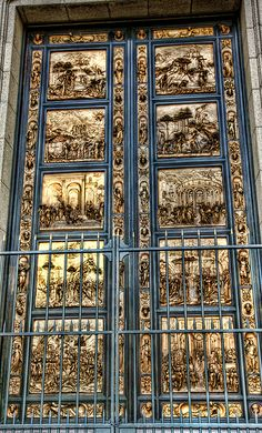 Florence. Ghiberti's Gates of Paradise. He beat out Brunelleschi for the design of the Florence baptistery doors.