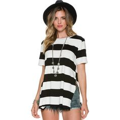 Swell Women's Boyfirends Back Striped Ss Tee Womens Exclusive White (50 AUD) ❤ liked on Polyvore