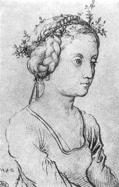 Schongauer, Martin: Mädchen mit Blätterkranz c.1475