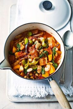 Enjoy this vegetarian stew recipe, made with butternut squash, butterbeans and chickpeas, as a healthy midweek meal.