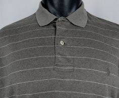 POLO RALPH LAUREN Polo Shirt Mens Large Striped Heather Brown Pony Logo LS Rugby #PoloRalphLauren #PoloRugby