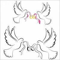 White Wedding Doves with Rings Free vector in Adobe Illustrator ai . Wedding Doves, Wedding Cards, Wedding Ring Images, Wedding Rings, Dove Outline, Crochet Doily Rug, Glass Engraving, Diy Arts And Crafts, Free Wedding