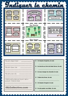 Indiquer le chemin French Teaching Resources, Teaching French, Teaching Tips, French Worksheets, French Songs, Core French, French Grammar, Secondary Teacher, French Classroom