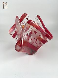 Strips and flakes of red on clear handkerchief style fused glass ikebana floral vase - Wedding table decor (*Amazon Partner-Link)
