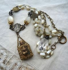 Ex Voto Sacred Heart Assemblage Necklace,  French Relic for the Passionate, by Rustic Gypsy