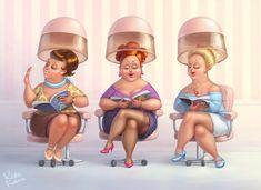 """""""Beauty Salon"""" by Kate Frolova Salon Art, Art Impressions, Fat Women, Beauty Shop, Cosmetology, Friends Forever, True Beauty, Belle Photo, Cute Art"""