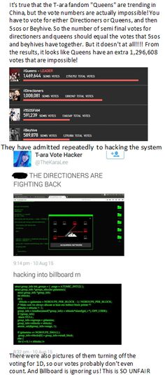READ THIS!!!!!!! At least its a plus for the Directioner fandom that it wasn't us cheating, because everyone knows that we are BOSS at hacking and could have if we wanted to