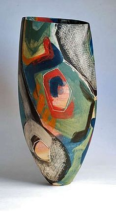 Carolyn-Genders ceramic abstract form and decorated vase Ceramic Decor, Ceramic Clay, Ceramic Bowls, Pottery Painting, Pottery Vase, Ceramic Pottery, Thrown Pottery, Slab Pottery, Modern Ceramics