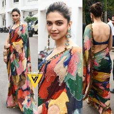 on the sets of today Deepika Padukone Saree, Sari Design, Mode Bollywood, Bollywood Fashion, Indian Designer Outfits, Indian Outfits, Indian Beauty Saree, Indian Sarees, Liu Jo