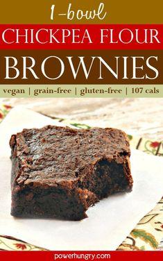 One-Bowl Chickpea Flour Brownies {vegan, grain-free} Chocolate Fudge Brownies, Best Brownies, Gluten Free Grains, Vegan Gluten Free, Dairy Free, Paleo, Keto, Vegan Desserts, Dessert Recipes