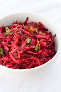 Polish Beet Root salad, warm with onion, balsamic vinegar and honey for sweetness. http://mypotsandfrills.blogspot.ca/2010/10/simplest-polish-beet-salad-back-to.html http://www.foodnetwork.com/recipes/food-network-specials/beet-salad-recipe/index.html Also great!