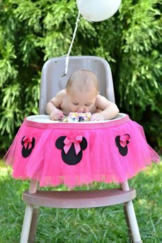 Pink Minnie Mouse Highchair Tutu Decoration -- FREE SHIPPING