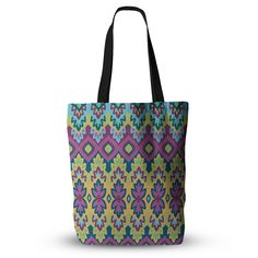 "Amanda Lane ""Boho Chic"" Purple Yellow Everything Tote Bag"