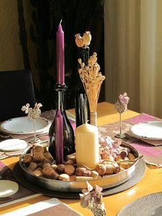 Tischdeco, Korken, Kerzen