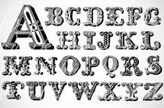 woodcut letter alphabet - score!