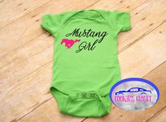 Mustang girl infant one piece bodysuit. Perfect baby shower gift. A personal favorite from my Etsy shop https://www.etsy.com/listing/478932099/mustang-girl-with-horse-infant-baby-one