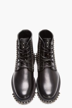 SAINT LAURENT Black Spiked Leather Lace-Up Rangers Boots