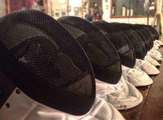 14 new foil fencing masks (and 20 new mask cords). OK foil fencers get used to electric bib masks!