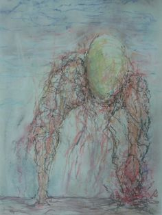 A COISA  1990 pastel seco sobre papel. 210 x 297mm   THE THING 1990 pastel crayon on paper 210 X 297mm