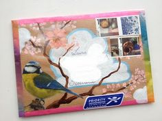 pretty mail art, mixed media, made by nathalie