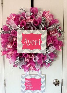 Hey, I found this really awesome Etsy listing at https://www.etsy.com/listing/181950238/baby-announcement-wreath-with-hot-pink