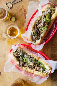 Philly Cheesesteak Sandwiches via Bakers Royale Steak Recipes, Cooking Recipes, Burger Recipes, Philly Cheese Steak Sandwich, Beef Sandwich, Good Food, Yummy Food, Wrap Sandwiches, Steak Sandwiches