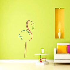 Colored Flamingo Wall Decal Vinyl Sticker Wall Decor Home Interior Design Art VK59 by CozyDecal on Etsy https://www.etsy.com/listing/191308766/colored-flamingo-wall-decal-vinyl