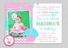 1st Birthday Cupcake Invitation  Cupcake 1st by TheTrendyButterfly, $15.00