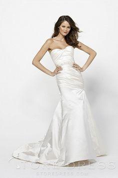 Gorgeous Sheath / Column Chapel Beading Side Draped Wedding Dress 2014 at Storedress.com
