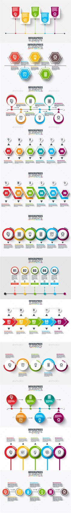 Timeline infographics by alexdndz Set of Infographic elements data visualization vector design template. Can be used for steps, options, business processes, workflo