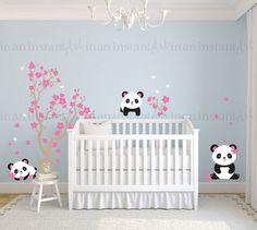 Pandas and Cherry Blossom Tree Panda Decal Panda by InAnInstantArt