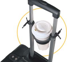 A great gift for the traveler that has everything! A traveling drink holder for your rolling luggage.