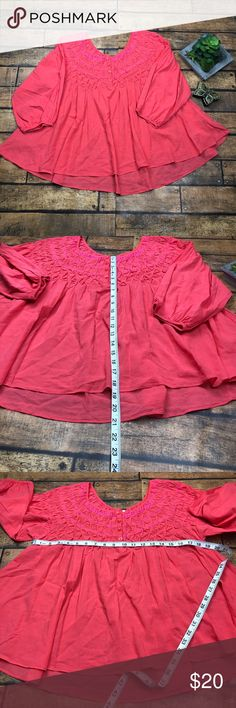Free People Orange/Pink Blouse Unless stated NWT, all my clothes, shoes, and handbags are in gently worn condition. I will state any flaws that I see. I try my best to find all flaws but I may miss something. (I am humanafter all.)Please view listing pictures for measurements, additional questions are always welcome. All items are stored in a non-smoking environment. No returns Free People Tops Blouses