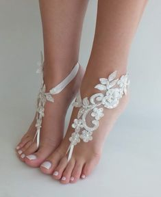 d9842808175f5 EXPRESS SHIPPING Ivory lace barefoot sandals