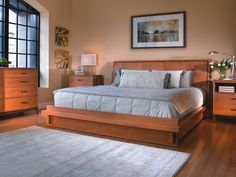 A true contemporary platform bed with a headboard that curves slightly to feature cherry veneer panels and walnut accents. Solid cherry and cherry veneers. Bedroom Chair, Bedroom Sets, Sofa Bed, Bedroom Furniture, Pottery Barn Bedrooms, Veneer Panels, Set Of Drawers, Platform Bed, Aspen