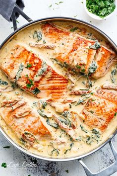 Creamy Garlic Butter Tuscan Salmon (OR TROUT) is such an incredible recipe! Rest… Creamy Garlic Butter Tuscan Salmon (OR TROUT) is such an incredible recipe! Restaurant quality salmon in a beautiful creamy Tuscan sauce! Salmon Dishes, Fish Dishes, Seafood Dishes, Fish And Seafood, Salmon Meals, Shrimp Meals, Salmon Food, Main Dishes, Seared Salmon Recipes