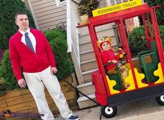 Danielle: My husband as Mister Rogers, my Son Mason as Daniel Tiger and the trolley my husband built! :-).