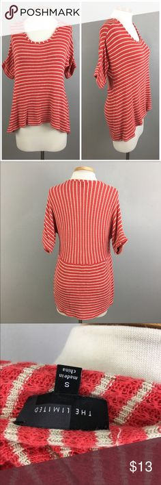 """The Limited Red & Cream Striped Sweater Top The Limited Striped Sweater Cotton Blend Top. Size small. Thank you for looking at my listing. Please feel free to comment with any questions (no trades/modeling).  •Fabric: Cotton Blend  •Bust: 40 •Length: 21.5"""" (front) 25"""" (back) •Condition:  GUC, no visible flaws.   25% off all Bundles or 3+ items! Reasonable offers welcome. IC The Limited Sweaters Crew & Scoop Necks"""
