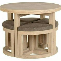 Round Dining Table & 4 Chairs Set Sonoma Oak Breakfast Space Saving Furniture for sale online Wooden Furniture, Home Furniture, Furniture Design, Coaster Furniture, Industrial Furniture, Industrial Lamps, Vintage Industrial, Furniture Plans, System Furniture