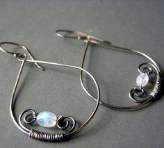 Rainbow Moonstone Hoop Earrings on Oxidized Sterling by beadstylin, $28.50