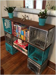 Diy milk crate storage clever ideas to recycle plastic milk crates diy milk crate storage bench . Plastic Milk Crates, Plastic Bottles, Diy Casa, Easy Home Decor, Recycled Home Decor, Diy Furniture, Milk Crate Furniture, Furniture Storage, Modern Furniture