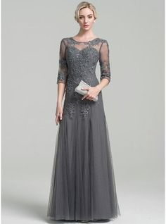 A-Line/Princess Scoop Neck Floor-Length Beading Sequins Zipper Up Sleeves 3/4 Sleeves No Other Colors General Plus Tulle Mother of the Bride Dress