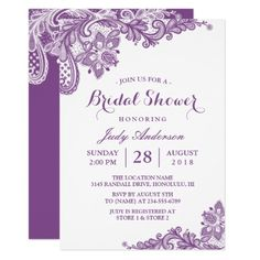 Classy Lavender Purple Modern Lace Bridal Shower Card