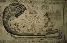 Vishnu reclining on Shesha, as Brahma is born on a lotus from his navel (palace of Bir Singh Dev, Orchha, early c. Shiva, Recliner, Mythology, Vintage World Maps, Navel, Lotus, Palace, Pose, Hinduism