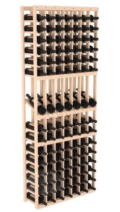 Seven Column 105 Bottle Wine Cellar Kit/Rack with Display Row in Ponderosa Pine with Stain & Finish Options With same day free shipping, this value can't be beat. Dimensions: 77 1/8(h) x 30(w) x 10 1/2(d). Capacity: 105 Wine Bottles and Fits all 750ml Bottles. Constructed of Furniture Grade Ponderosa Pine. Proudly Made in the USA. Money Back Guarantee + Lifetime Warranty.  #Wine_Racks_America #Kitchen