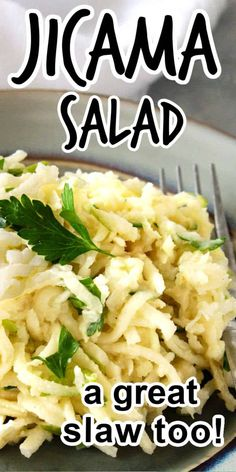 Jicama Salad is a perfect choice for a healthy side or snack. You get crisp earthy jicama along with sweet-tart shredded apple.  The mildly tangy salad dressing ties it all together. It is also delicious as a jicama slaw on bean burgers and tacos. #jicamasalad #jicamasaladrecipe #jicamaslaw #jicamaslawrecipe #healthyjicamasalad Easy Summer Salads, Summer Salad Recipes, Easy Salads, Healthy Salad Recipes, Vegetarian Recipes, Healthy Eats, Tomato Salad Recipes, Slaw Recipes, Freezer Recipes