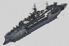 Rahmos Dreadnought 01 by Amarynceus on DeviantArt Steampunk Ship, Flying Ship, Alien Concept Art, Sci Fi Ships, Spaceship Design, Concept Ships, Futuristic Art, War Machine, Dieselpunk