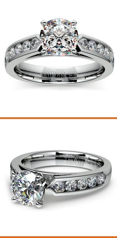 Ten round cut diamonds are channel set in this white gold diamond engagement ring setting, accenting your choice of center diamond.